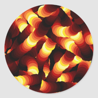 Abstract Firelight Glow Worm Round Stickers