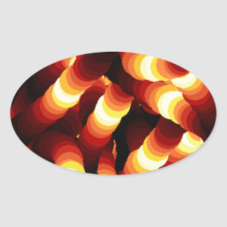 Abstract Firelight Glow Worm Oval Sticker