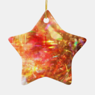 abstract fireworks art Double-Sided star ceramic christmas ornament