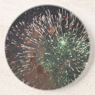 Abstract Fireworks Green Closeup Beverage Coaster
