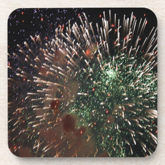 Abstract Fireworks Green Closeup Coasters