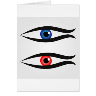 Abstract fish with large eyeball inside card