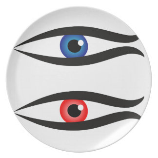Abstract fish with large eyeball inside melamine plate