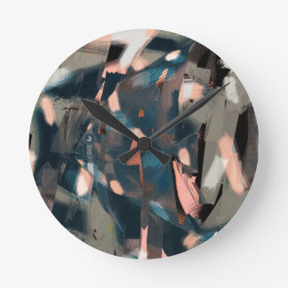 Abstract Fish with Overbite Round Clock