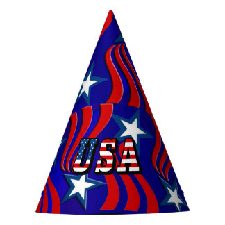 Abstract Flag Pattern with USA Text Party Hat
