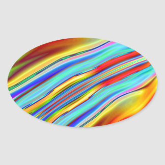 Abstract Flame Oval Stickers