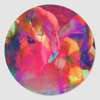Abstract Flamingo Art Classic Round Sticker