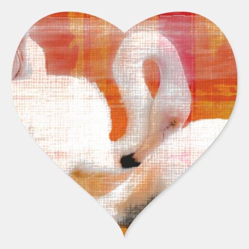 Abstract Flamingo Art Heart Stickers