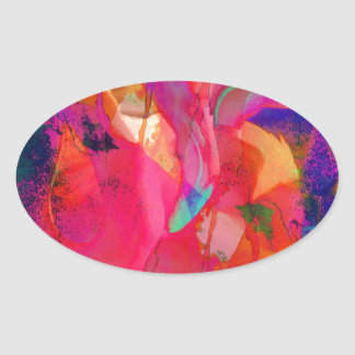 Abstract Flamingo Art Oval Sticker