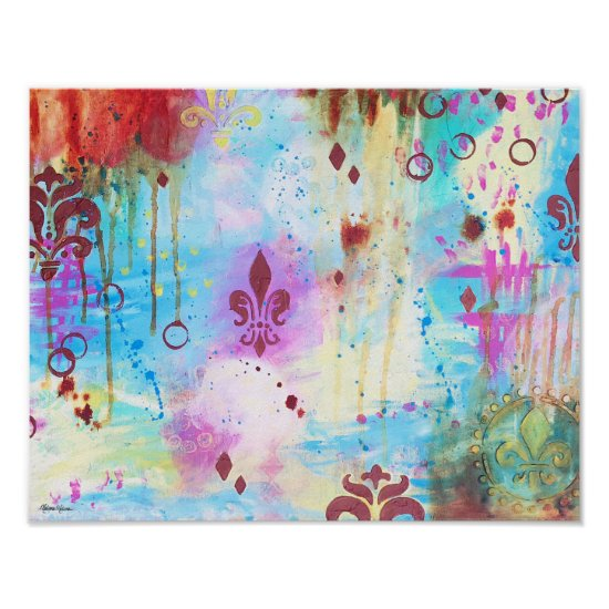 Abstract Fleur de Lis Colorful Blue Yellow Pink Poster