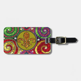 Abstract Fleur De Lis Tile mosaic Colorful Bag Tag