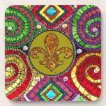 Abstract Fleur De Lis Tile mosaic Colorful Beverage Coaster