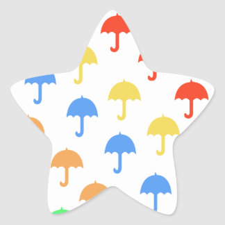 Abstract Floating Umbrellas Star Sticker