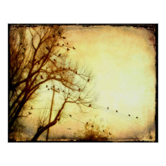 Abstract Flock Of Birds Poster