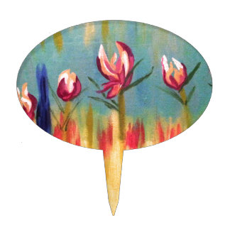 ABSTRACT FLORAL 1.jpg Cake Topper