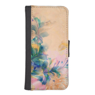 Abstract Floral Background Blue And Beige iPhone SE/5/5s Wallet