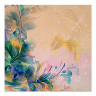 Abstract Floral Background Blue And Beige Poster