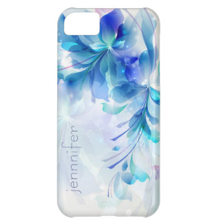 Abstract Floral Background Blue And White Monogram Case For iPhone 5C