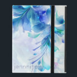 """Abstract Floral Background Blue And White Monogram iPad Cover<br><div class=""""desc"""">Cool abstract floral collage in light blue and white. Custom Monogram</div>"""
