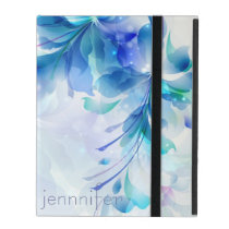 Abstract Floral Background Blue And White Monogram iPad Cover