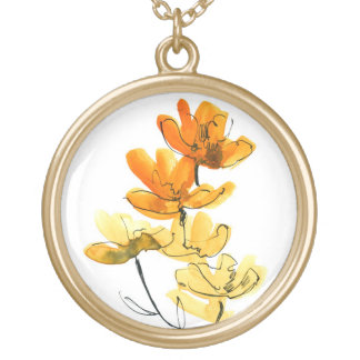 Abstract floral background round pendant necklace