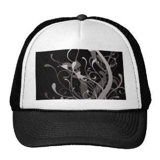 abstract floral black trucker hat