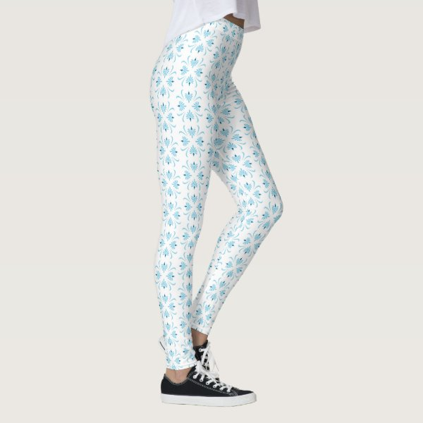 Abstract Floral Blue and White Leggings