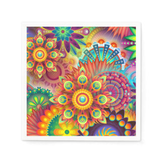 Abstract Floral Bold Color Party Napkins