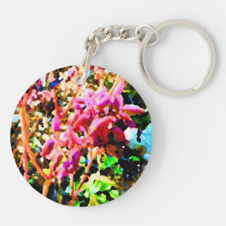 abstract floral cactus flowers pink keychain