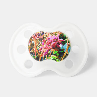 abstract floral cactus flowers pink baby pacifier