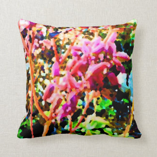 abstract floral cactus flowers pink pillow