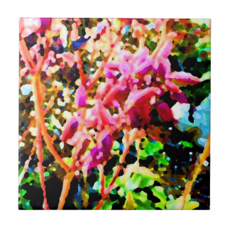 abstract floral cactus flowers pink small square tile