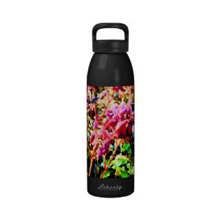 abstract floral cactus flowers pink water bottles