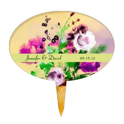 Abstract Floral Cake Topper
