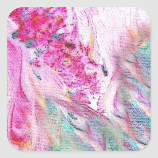 Abstract Floral Canvas Square Sticker