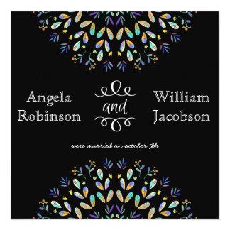 "Abstract Floral Chalkboard Post Wedding Invitation 5.25"" Square Invitation Card"