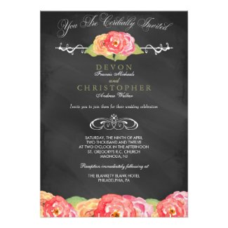 Abstract Floral Chalkboard Wedding Invitation