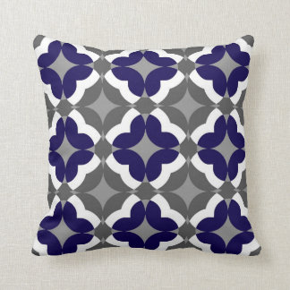 Abstract Floral Clover Pattern in Cobalt and Grey Pillow