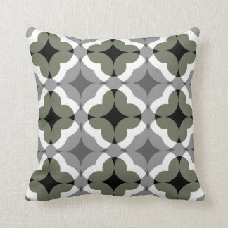 Abstract Floral Clover Pattern in Olive and Grey Pillow