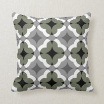 Abstract Floral Clover Pattern in Olive and Grey Throw Pillow
