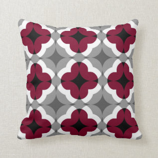 Abstract Floral Clover Pattern In Red And Grey Throw Pillow at Zazzle