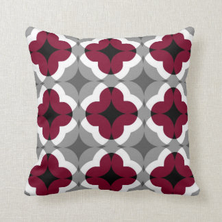 Abstract Floral Clover Pattern in Red and Grey Throw Pillow