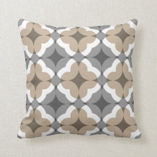 Abstract Floral Clover Pattern In Tan And Grey Throw Pillow at Zazzle