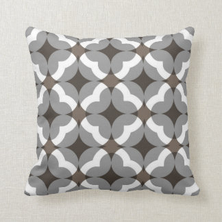 Abstract Floral Clover Pattern in Taupe and Grey Throw Pillows