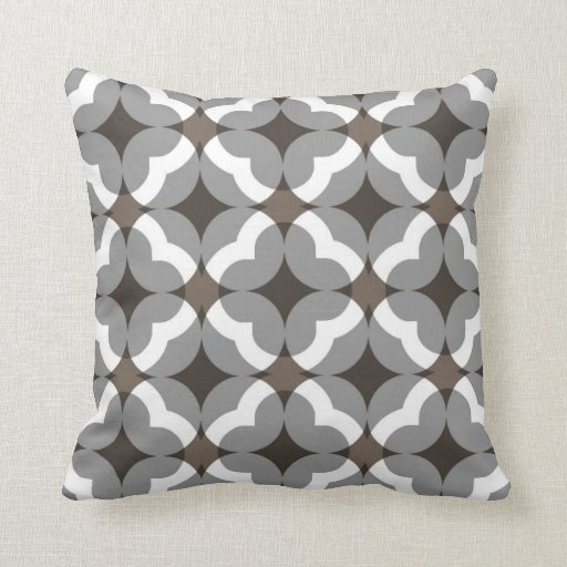 Abstract Floral Clover Pattern in Taupe and Grey Throw Pillow Zazzle