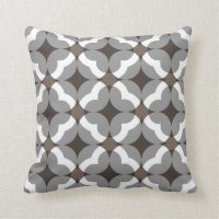 Abstract Floral Clover Pattern in Taupe and Grey