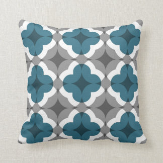 Abstract Floral Clover Pattern in Teal and Grey Throw Pillow