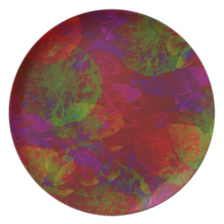 Abstract Floral Collage Dinner Plate