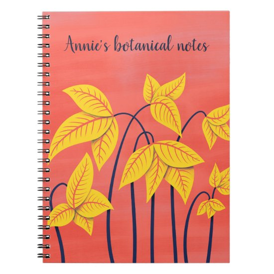 Abstract Floral Coral Yellow Botanical Custom Text Notebook
