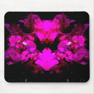 Abstract floral design - bright pink on black mouse pad